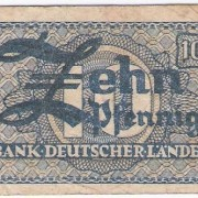 Germany: 10 Pfennig Bank Deutscher Lander banknote, 1948, F-VF