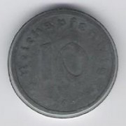 Germany: 10 Pfennig coin, 1945 A (TR issue), VF-EF