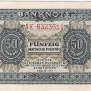 German Democratic Republic (DDR) 50 Deutsche Pfennig banknote, 1948, blue/brown, EF