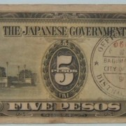 Philippines: x3 Japanese Invasion Money 5-Peso banknotes w/ovpts; F-VF