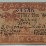 Philippines: x2 guerilla banknotes: 50 Cent., Cagayan EF; 10 Cent. Mountain F-VF