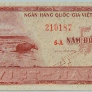 Vietnam: x2 banknotes: S. Viet 5 Dong 1955 UNC; N. Viet. 1 Dong 1958 VF