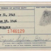 U.S.Navy honorable discharge card, 1945-46