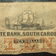 United States: South Carolina State Bank $10 banknote 20.07.1855; Ovpt'd