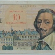 France: 10 Nouveaux Francs on 1,000 Francs banknote, 7/3/1957; F+