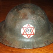 Pre-State Israeli made steel helmet for 'Magen David Adom', c.1940-42