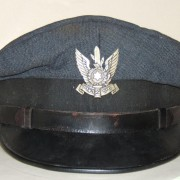 IAF visored hat in gray-blue w/screw-back IAF emblem, c.1948-1950s