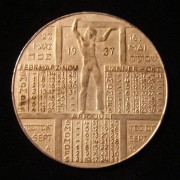 Germany/Austria: Keren HaYesod calendar medal in German, 1937; cupro-nickle; maker-marked (unclear); size: 40mm; weight: 17.55g. Obv: Latin-dated calendar for 1937-38 (5697-5698) +