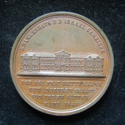 Germany > Hamburg: large bronze medal of the New Jewish Hospital in Hamburg, 1841, by Hans Friedrich Alsing; size: 45mm; weight: 42.35g, in EF. Obv.: the home w/German leg.