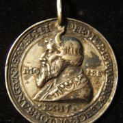 Germany(?): 'Moses' Joachimsthal of the 'Praguemedaille' series (tallion), after Hieronymus Magdeburger & school (ND), circa. 1535 or later cast; white metal; size: 36mm; weigh