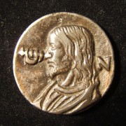 Italy: Jesus medal in white metal, c. 16th C.; not maker-marked; size: 35mm; weight: 17g; thickness: 3mm. Obv.: left facing Christ, with Hebrew initial