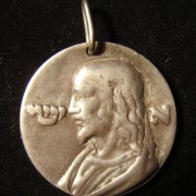 Italy: Jesus medal in white metal (silver?), c. 16th C.; maker-marked