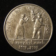 Germany > Sachsen-Thuringen: 'Corn Jew' medal of woman & grain peddler, 1771-1772; by Johann Christian Reich; pewter(?); size: 38mm; weight: 17.35g. Obv.: housewife with cle