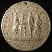 US: Centennial 1783-1883 Celebration of Evacuation of New York medal, 1883; struck in tin; no artist; 35.5mm, 15.8g: Obv: American soldiers raising the American flag & British flag