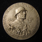Germany: Anti-Semitic 'Why We Fight' zinc medal, 1939