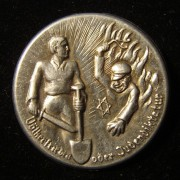 Germany/Austria: anti-Semitic aluminum pin c. late 1920's-early 1930's; not maker-marked; 30mm, 1.8g. Depicts allegorical
