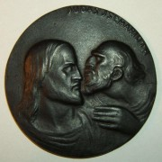 Austria(?): Judas Iscariot/ Jesus medal (ND), circa. 1915; blackened bronze cast; not maker-marked; size: 61.75mm, weight: 73.45g. Obv.: 'Jewish-looking' Judas whispering to stern-