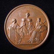 Germany > Hamburg: Gabriel Riesser homage medal in bronze, 1836; by Gottfried Loos & L. Held; size: 59.5mm; weight: 109.85g. Obv.: religious Knowledge nursing two babies + 2