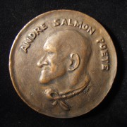 France: André Salmon bronze medal by Maurice Savin, ND; size: 66mm; weight: 142.35g. Obverse: left-facing portrait of Salmon with legend in French above. Reverse: image of woman in