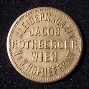 Austria: Jacob Rothberger (Jewish clothing deparment store) brass token with depiction of the building on reverse, not maker-marked, in AU; size: 23.75mm; weight: 5.45g