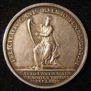 Netherlands/Hapsburg Empire: religious-political 1774 silver medal by Joannes Vitus Meijer (not marked); size: 32.75mm; weight: 11.3g. Obv.: King David w/ lyre; Latin leg.: