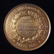 France: Great International Food Competition award medal to Max Levi business, 1885; by Massonnet; gilt bronze(?); size: 57.5mm; weight: 70.7g. Obv.: French leg.