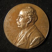 Austria: Professor Leo Reinisch 70th birthday bronze commemorative medal by Anton Scharff, 1902; size: 47mm; weight: 44.65g. Obv.: left-facing Reinisch w/ name at right & Schar