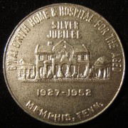 US > Tennessee > Memphis: B'nai B'rith Home & Hospital for the Aged cast iron silver jubilee good luck token, 1952; not maker-marked; size: 31.75mm; weight: 9.55g; coin alignment.