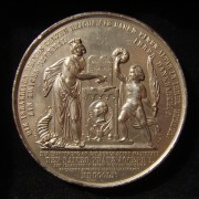 Austria-Hungary / Habsburg Empire: Jewish Property Ownership Ordnance silvered bronze medal, 1860; by Alfons Desaide-Roquelay (France), commissioned by Ch[ristian] Krauss (Budapest