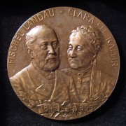 Austria-Hungary: 50th Wedding Anniv. Landau/Kallir bronze medal by Schwerdtner, 1899