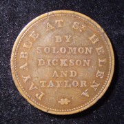 St. Helena: 'Solomon Dickson and Taylor' half penny copper token, c. 1821