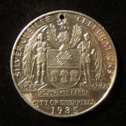 Great Britain / City of Sheffield King George V Silver Jubilee coin, 1935; struck in tin; by artist