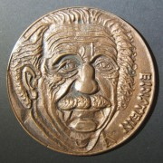 Hungary: Albert Einstein uniface bronze medal by László Csontos, ND; size: 92.25mm; weight: 170.4g. Csontos (born 1925) made a series of large uniface portrait medals of famous men