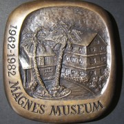 United States: Judah Magnes/ Magnes Museum 20th anniversary(?) bronze bas relief medal by Marika Somogyi, c. 1982; size: 110 x 117mm; weight: 1151g. Obverse: right-facing Magnes wi
