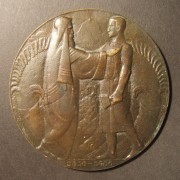Netherlands: San Remo Conference large cast bronze commem. medal, 1920; by Christiaan Johannes van der Hoef; size: 94mm; weight: 221.95g. Obv.: allegorical Cananite greeting his mo