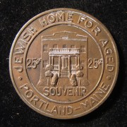 US > Maine > Portland: Jewish Home for Aged good luck token, ND; size: 35mm; weight: 17.05g. The home was founded in 1929 and based on North Street, where it remained until 1965. I