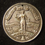 US: American Jewish Congress in Philadelphia delegates token, 1920; silvered bronze(?); by Popular E&M Co. of NY; size: 34mm; weight: 9.65g. Founded in 1918 by a group of Jewis