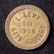 US: L. Levy 'Lane Grocery' bottle-return 5 cent brass token