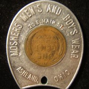 US: Moshers Men's & Boy's Wear (Ohio) encased cent 'good luck' token