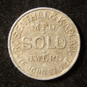 US: Rosenthal & Kaplan jewelers aluminum advertising token