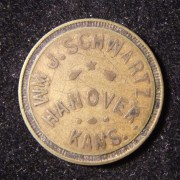 US: William J. Schwartz brass store token (Hanover, Kansas)