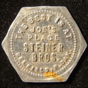 US: Joe's Place Steiner Brothers tin hexigonal 5 cent token