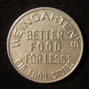 US: Weingarten's grocery (Texas) 10 cent tin/aluminum store token