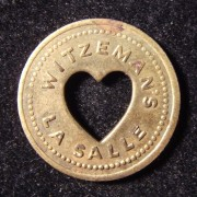 US: Witzeman's store 5 cent brass token with punched-out heart device