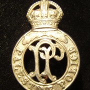Palestine Police Force silvery cap badge, 2-prong back by Dowler
