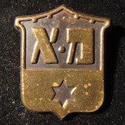 Palestine/Israel: second version blue colored emblem pin of the [Tel Aviv] 'Mishmar Ezrachi' ('Civil Guard') circa. mid-late 1940s; not maker-marked; weight: 3g. The second design