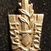 Haganah veteran's pin from the Jerusalem unit, circa. 1950's; not maker-marked; weight: 3.1g. A single-piece construction incorporating the emblem of the Jerusalemite force of the