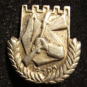 Palestine/Yishuv: Irgun-Etzel member's pin, circa. 1940s; not maker-marked (emblem designed by Lili (Ayala) Strassman-Lubinsky, 1938); size: 18 x 20mm; weight: 2.15g. The pin depic