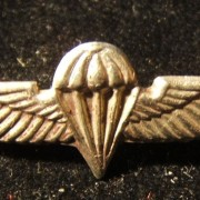Tunic emblem of the paratroop corps of the IDF, circa. 1960's-70's; size: 33x11mm; weight: 1.05. Not a pin to be treated lightly: as late as the early 2000's there were news report