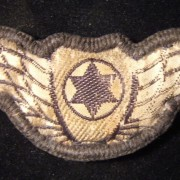 Israel: Israel Air Force pilot's cloth wings patch with riveted button reverse (for attaching to flight uniform); weight: 3.8g. Rare